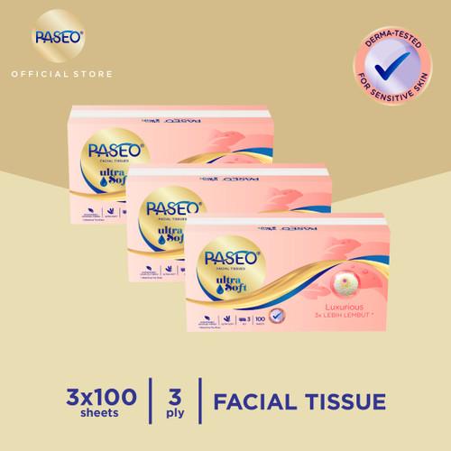 Foto Produk Paseo Ultra Soft Tissue Wajah Soft Pack 100 Sheets x 3 Packs dari Paseo Tissue Official