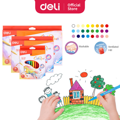Foto Produk Deli EC10000 felt pen spoild 12 colors dari Deli Stationery