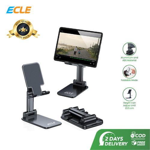 Foto Produk ECLE Stand Phone Holder Liftable Foldable Alumunium Penyangga HP Lipat - Hitam dari ECLE Official Store