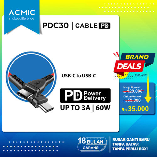 Foto Produk ACMIC PDC30 - Power Delivery (PD) 30cm Cable USB Type C to USB Type C - Merah dari ACMIC Official Store