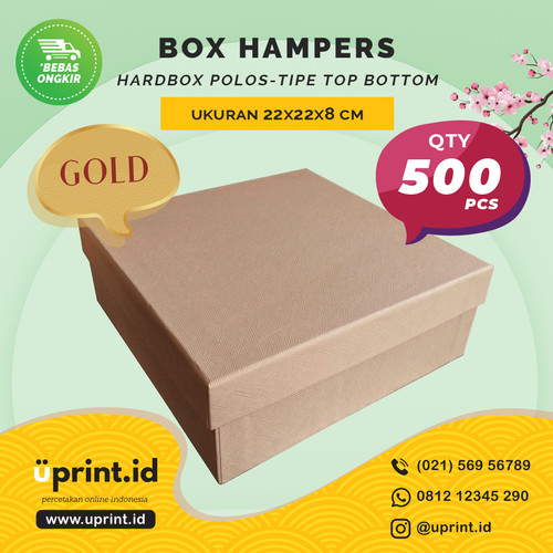 Foto Produk HARDBOX POLOS GOLD | 22 x 22 x 8 cm| BOX HAMPERS/KUE - QTY 500pcs dari Uprint.id