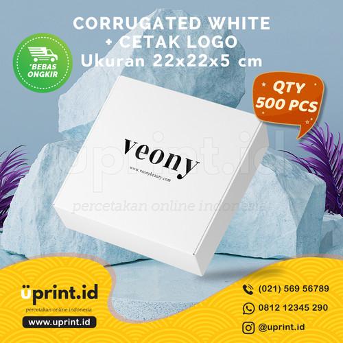 Foto Produk CORRUGATED BOX WHITE + CETAK LOGO 1 WARNA  22x22x5 cm  QTY 500 dari Uprint.id