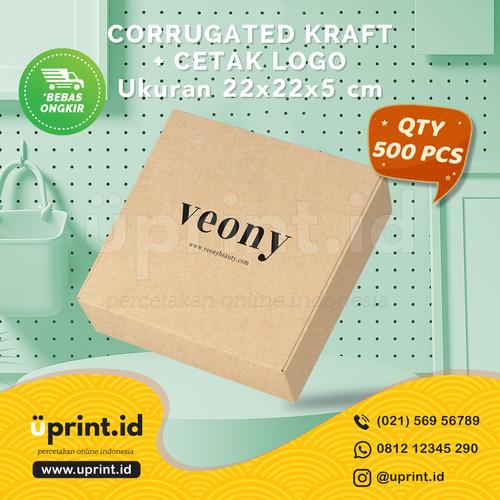 Foto Produk CORRUGATED BOX KRAFT + CETAK LOGO 1 WARNA  22x22x5 cm  QTY 500 dari Uprint.id
