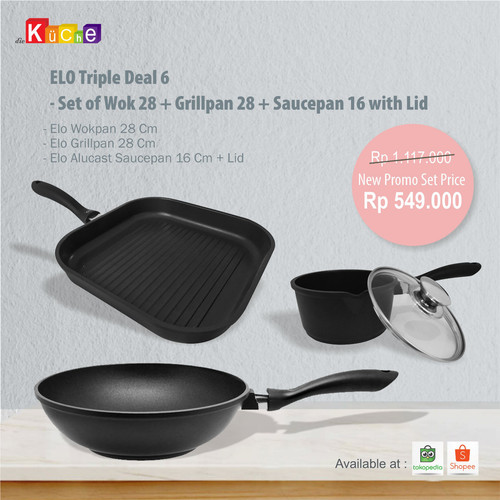Foto Produk ELO Triple Deal 6 - Set of Wok 28 + Grillpan 28 + Saucepan 16 with Lid dari Diekuche Fackelmann