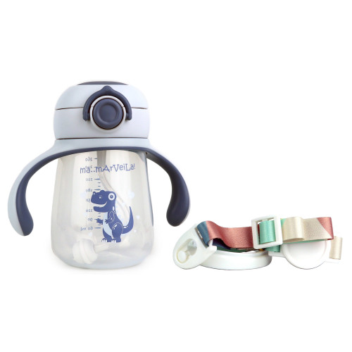 Foto Produk Marveila Bebo Water Bottle 260ml gravbl+Strap/Botol Minum Bayi/Anak - Ocean Blue dari Marveila & Friends