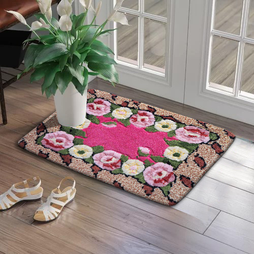 Foto Produk Keset Kaki Handtuft Azrina Import Tebal Lembut Anti Slip 50x70 cm - Pink dari Emoji Online