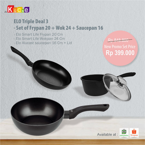 Foto Produk ELO Triple Deal 3 - Set of Frypan 20 + Wok 24 + Saucepan 16 dari Diekuche Fackelmann