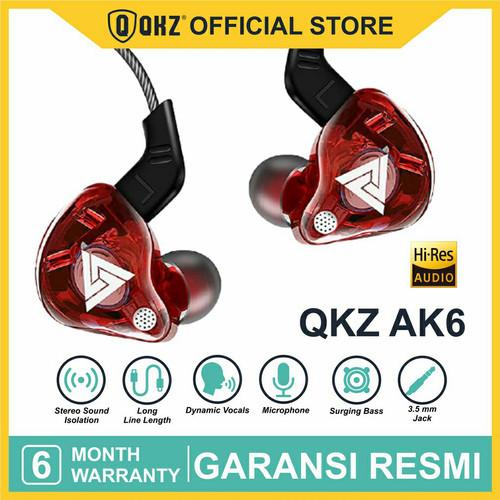 Foto Produk QKZ AK6 with Mic In Ear Earphone Copper Driver HiFi Sport Headphones - Merah dari QKZ Official Store