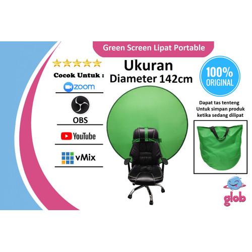 Foto Produk Green Screen Lipat Portable Background ChromaKey Kelas Daring ZOOM OBS dari Glob Shop