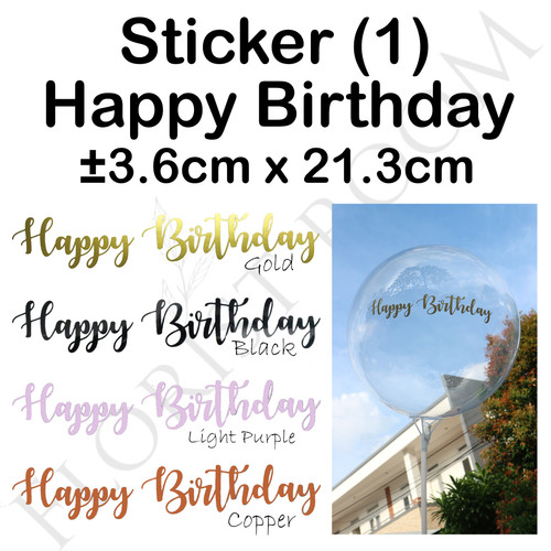 Foto Produk Sticker Balon Happy Birthday (1) - Sticker Huruf - Balon Pvc - Hiasan - Black dari Florist Room