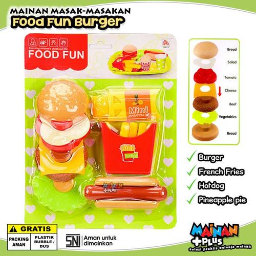 Foto Produk MAINAN MASAK MASAKAN ANAK PEREMPUAN FOOD FUN BURGER HOTDOG KENTANG SNI dari MainanPlus