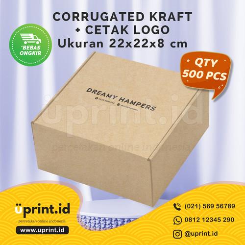 Foto Produk CORRUGATED BOX KRAFT + CETAK LOGO 1 WARNA| 22x22x8 cm| QTY 500 dari Uprint.id