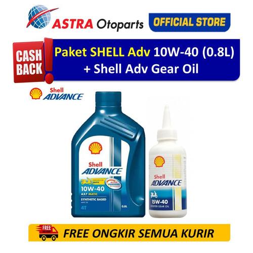 Foto Produk Paket Shell Advance AX7SC 10W40 0.8 L (Matic) + Gear Oil (Matic) dari Astra Otoparts
