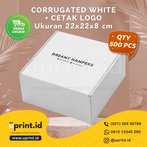Foto Produk CORRUGATED BOX WHITE + CETAK LOGO 1 WARNA  UKURAN 22x22x8 cm  QTY 500 dari Uprint.id
