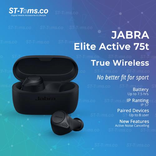 Foto Produk Jabra Elite Active 75t / Active 75 T True Wireless Earphones Bluetooth - Dark Grey dari ST-Toms.co