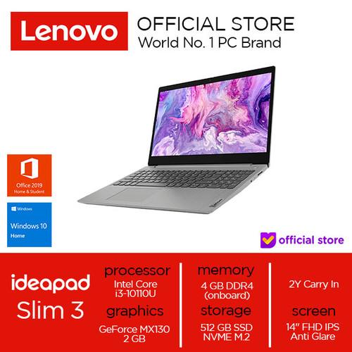 Foto Produk Lenovo IdeaPad Slim3 Core i3-10110U 4GB 512SSD MX130 2GB W10 OHS - Platinum Grey dari Lenovo Official