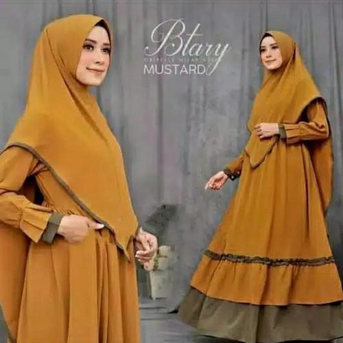 Foto Produk Gamis Wanita Syari Muslimah Btary Set Khimar Hijab Besar Terbaru - Mustard dari Shopieana Store