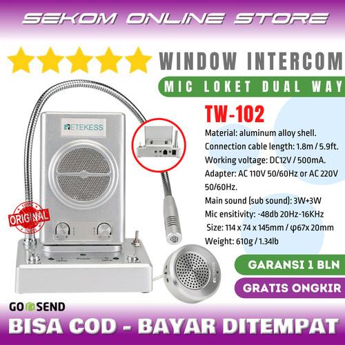 Foto Produk RETEKESS Dual Way Window Counter Intercom - Mic Loket 2 Arah TW-102 dari SEKOM ONLINE STORE