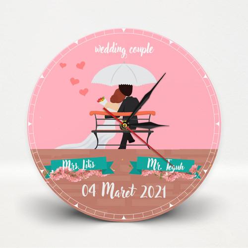 Foto Produk Jam Dinding Kayu Wedding untuk Dekorasi Kado nikah dan souvenir dari Goovi Ink