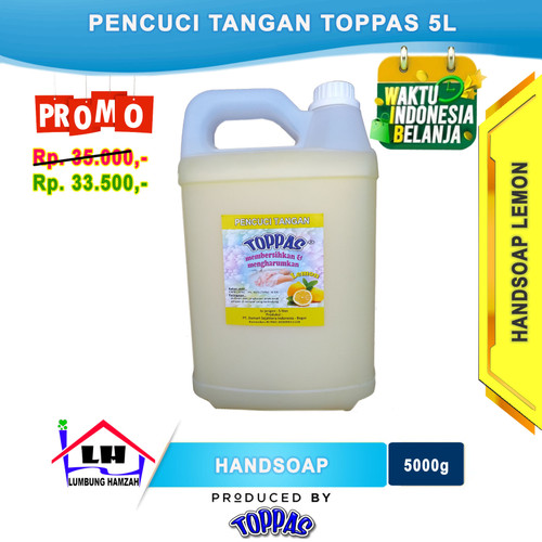 Foto Produk Hand Soap Lemon 5 L TOPPAS Mutu TOP Harga Pas Promo dari Toko Sabun Hamzah