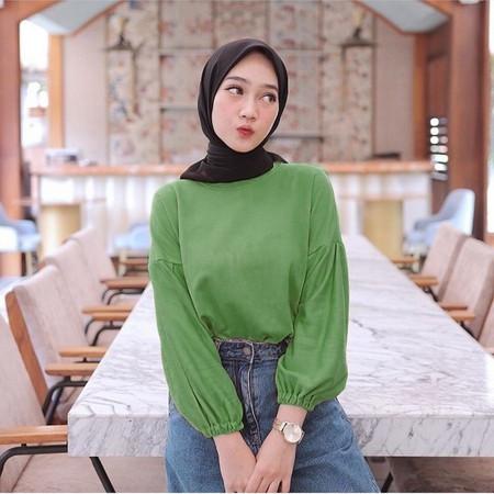 Foto Produk JRstore Blouse Lucy Top Atasan Wanita Lengan Panjang - lucy pj army dari JR Top Store