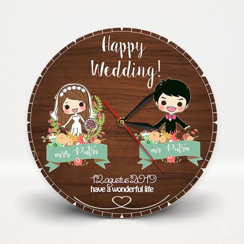 Foto Produk Jam Dinding Kayu Wedding untuk Dekorasi Kado nikah dan souvernir dari Goovi Ink