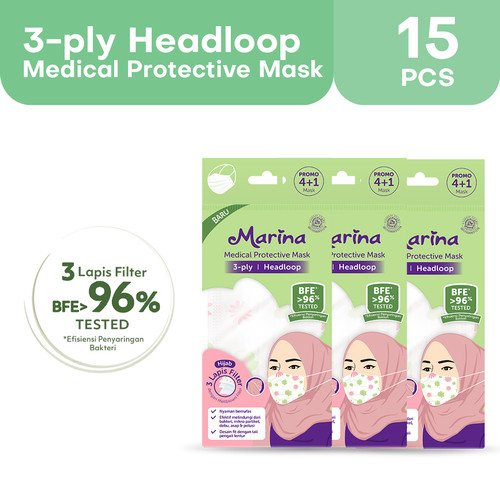Foto Produk Marina Medical Protective Mask Headloop (3 ply) - 15 pcs - Masker dari Tempo Store Official