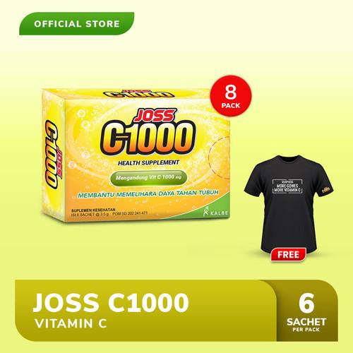 Foto Produk Joss C1000 Vitamin C 8 Pack FREE Kaos Gowes Hitam dari Bintang Toedjoe Official
