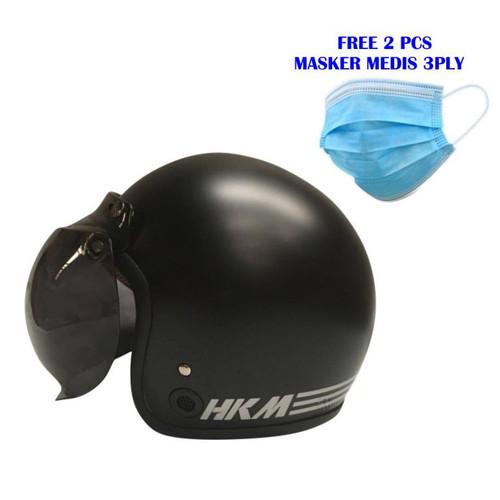 Foto Produk Helm Bogo Retro HKM Line Black Doff + kaca (Free Masker medis 2 pcs) dari GudangHelm