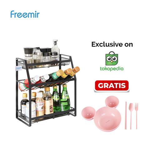 Foto Produk freemir Rak Botol Bumbu Dapur 3 Susun Stainless steel Rack Serbaguna - Baja Karbon dari freemir Official Store