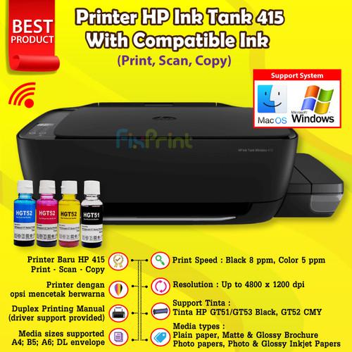 Foto Produk Printer HP Ink Tank 415 Print Scan Copy WiFI Wireless All in one Resmi - COMPATIBLE INK dari FixPrint Indonesia