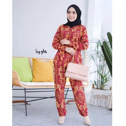 Foto Produk One Set Rayon Pajamas Tie Dye All Size Jumbo Kekinian Tie Dye Murah - All Size, Merah Maron dari Mickonova Store
