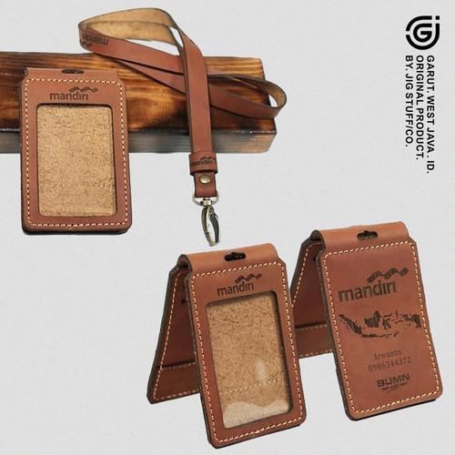 Foto Produk Gantungan ID card holder name tag Kulit sapi asli COSTUM NAMA dan LOGO - TAN VINTAGE dari JIG STUFF - LEATHERGOODS