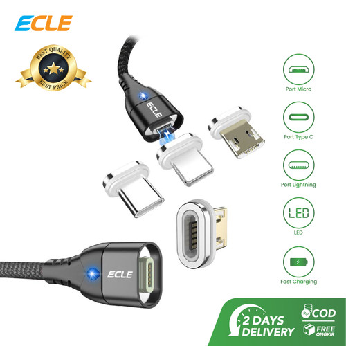 Foto Produk ECLE Kabel Data Magnetic 3A Fast Charge Adapter Micro/Type C/Lightning - Adapter Type C dari ECLE Official Store