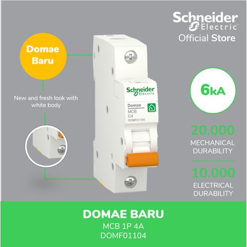 Foto Produk Schneider Electric NEW DOMAE MCB 4A 1P - DOMF01104 dari Schneider Electric Home