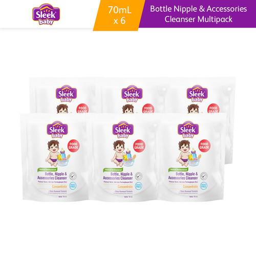 Foto Produk Sleek Baby Bottle Nipple & Accessories Cleanser Pouch 70 ml 6 Pcs dari Kino Store ID