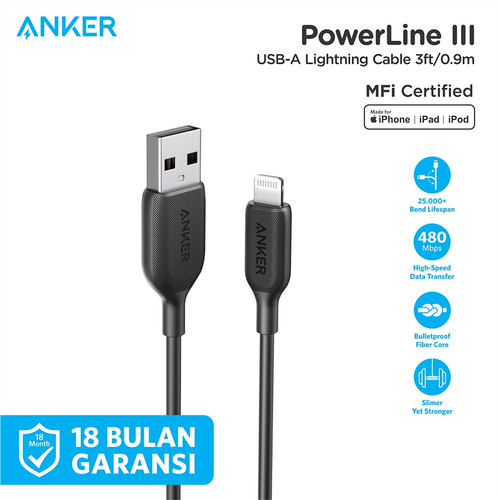 Foto Produk Kabel Charger Anker Powerline III Lightning 3ft - A8812 - Hitam dari Anker Indonesia