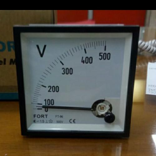 Foto Produk Fort Voltmeter Volt Meter Jarum Analog Fort FT-96 96x96 500V 500 V dari SURYA-ELEKTRIK