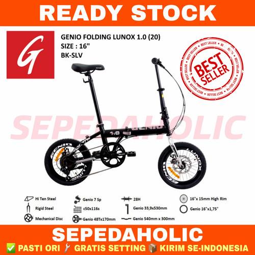Foto Produk Sepeda Lipat 16 Inch GENIO Lunox 1.0 Rem Cakram 7 Speed - Black Silver dari Sepeda Holic