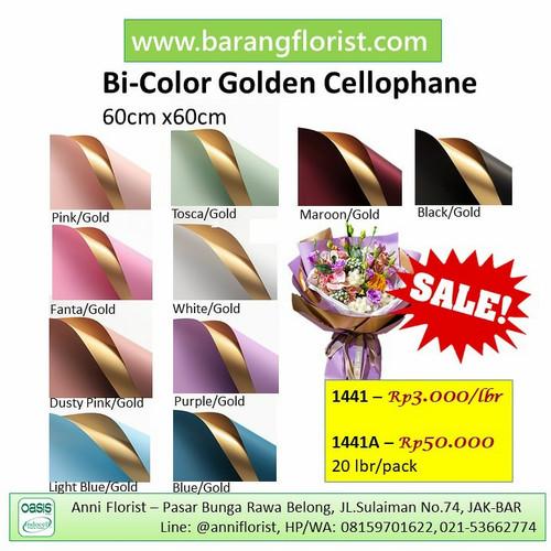 Foto Produk Bi-Color Golden Cellophane (1441) 1 lbr, Aksesoris bunga, kertas bunga dari anni_florist