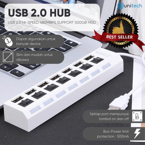 Foto Produk Unitech USB Hub 7 Port 2.0 Sakelar On Off High Speed Up to 2TB - Putih - Putih dari TokoUsbcom