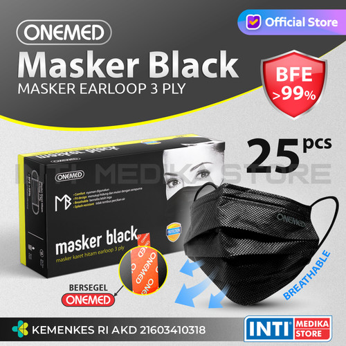 Foto Produk ONEMED - Masker 3 Ply Earloop Black | Surgical Mask | Masker OneMed dari INTI MEDIKA STORE