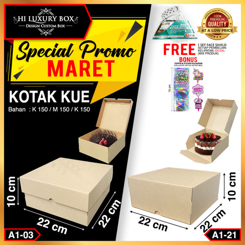 Foto Produk Box Packaging Polos (22x22x10)   Kotak Kardus Packing Kraft  Kotak Kue - A1-03 dari Hi Luxury Box