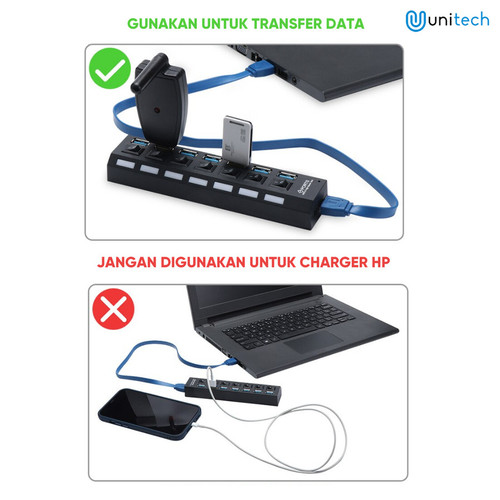 Foto Produk Unitech USB HUB 3.0 High Speed HUB 7 Port On/off Up to 2TB - 7 SLOT US - Hitam dari TokoUsbcom