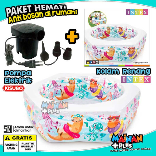 Foto Produk PAKET KOLAM RENANG ANAK INTEX OCEAN REEF POOL POMPA ANGIN ELEKTRIK dari MainanPlus