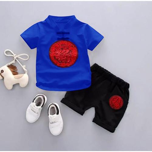 Foto Produk Baju Stelan Imlek Anak Setelan anak laki laki katun SET CHEONGSAM BOY - Biru dari seeds shop