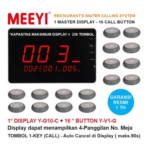 Foto Produk Bel Meja Restoran 1 Display dan 16 Call Button - MEEYI Y-G10-C x Y-V1 dari EtalaseBelanja