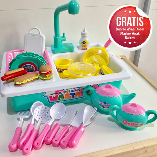 Foto Produk Mainan Cuci Piring & Masak Masakan Anak | Wastafel Mainan Edukasi dari LittleRa House