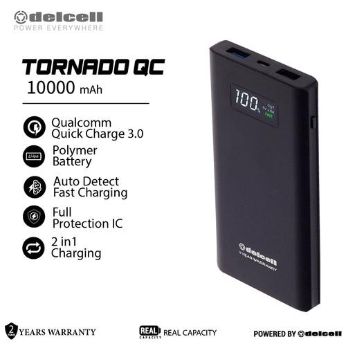 Foto Produk Delcell TORNADO Powerbank 10000mAh Support Quick Charge 3.0A Real Capa - Perak dari DelCell