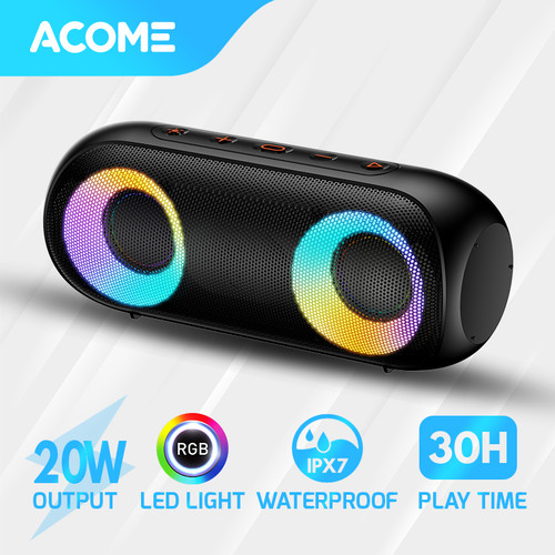 Foto Produk ACOME Super Bass Speaker Bluetooth 5.0 20W IPX7 RGB Rave Party A20 - A20 Black dari Acome Indonesia